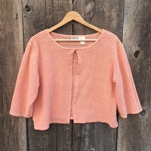 Vintage Peachy 1-Button Cropped Cardigan Shrug